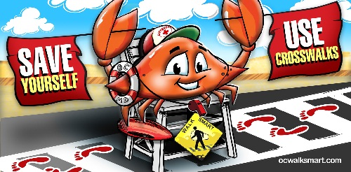 Mr. Crab urges you to Walk Smart!