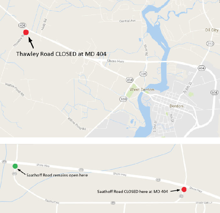 google map  temporary local road closures for md 404