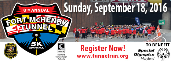 The eighth annual Fort McHenry Tunnel 5K will held on Sunday, Sept. 18